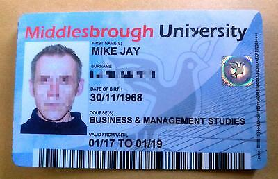 Fake/Gag College or university ID card - PVC card with security hologram