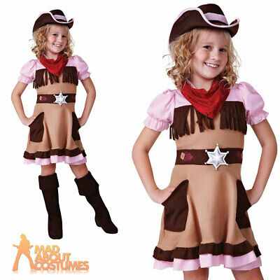 Child Cowgirl Cutie Costume Cowboy Wild West Girls Book Week Day Fancy Dress New