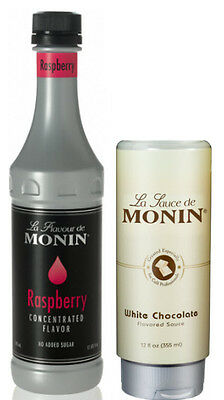 NEW Monin Gourmet White Chocolate Sauce & Raspberry Concentrate Flavor Set.
