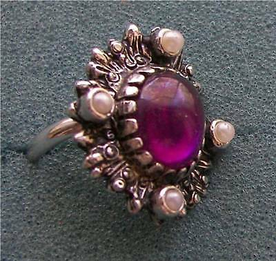 """""""CATHERINE"""" Ring - Amethyst Color Stone - Sarah Coventry Jewelry - Fashion - Vtg"""