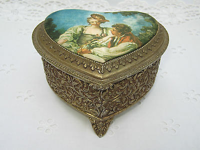 Vintage Brass Gold Tone Metal Repousse Heart Shaped Trinket Jewerly Box Footed