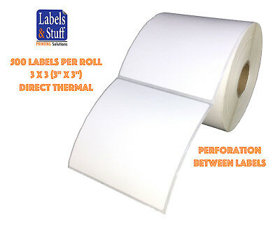 "1 Roll 500 Labels 3x3 (3"" x 3"") Direct Thermal Zebra Eltron Labels"