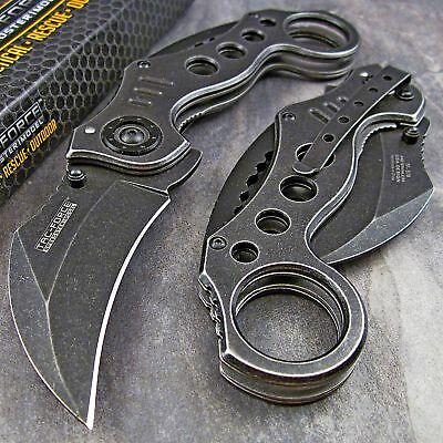 TAC-FORCE Spring Assisted Open STONE WASH KARAMBIT Folding Blade Pocket Knife