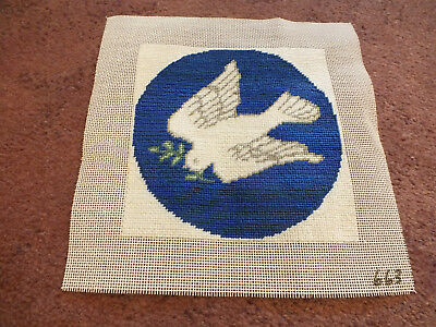 "Stunning Needlepoint Sampler Dove Complete & Ready to Frame 5 1/4"" CUTE"