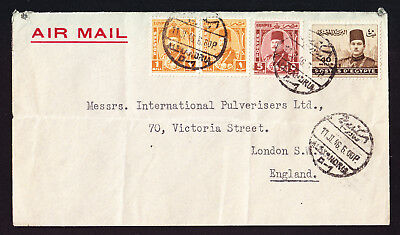 Egypt Egyptian Airmail cover from Alexandria to London England Air Mail 1946 Env