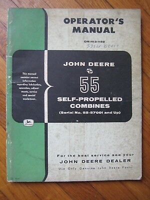 John Deere 55 Combine operators manual ORIGINAL
