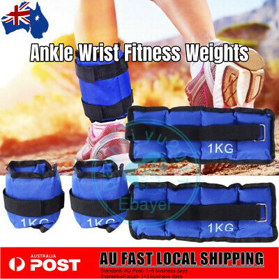 2x 1Kg Adjustable Ankle Wrist Weight Set Gym Training Yoga Workout Fitness Strap