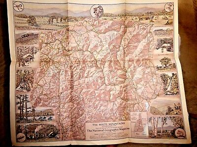 Vintage Lovely Pictorial Map The White Mountains Of New Hampshire 1937