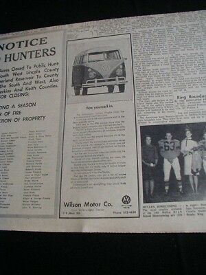 vintage 1964 newspaper ad volkswagen local vw bus paper clipping RARE