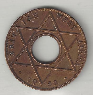 WEST AFRICA, BRITISH, 1952, 1/10 PENNY,  BRONZE,  KM#26a,  EXTRA FINE
