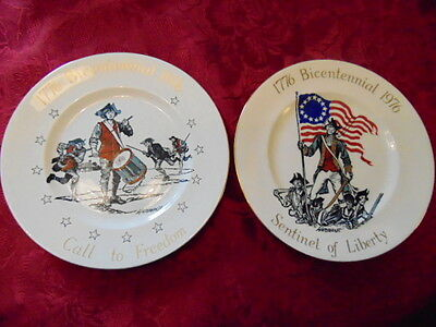 Crown Staffordshire America's Bicentennial Plates x2 In Excellent Condition