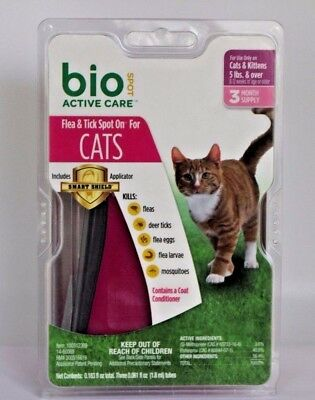 Bio Spot Active Care Flea & Tick Spot On for Cats 5 Pounds and Over 3 Month.NEW