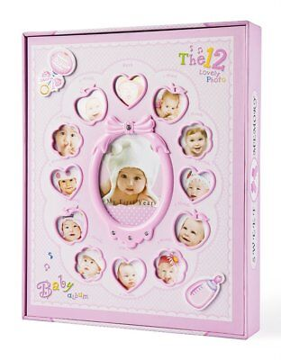 "Baby Photo Album,For Girls Holds 240 4x6 Photos ""My First Year"" with Box"