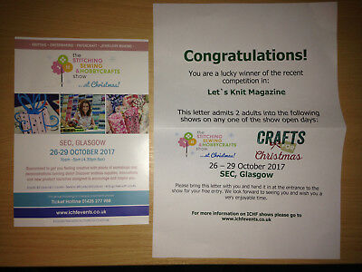 2 x Tickets to Stitching Sewing & Hobbycrafts Show - Glasgow - Any Day 26-29 Oct