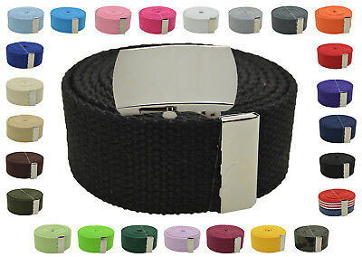"Canvas Military Web Belt & BIG ""Plain"" Silver Buckle 48, 54, 60, 72 Inches"