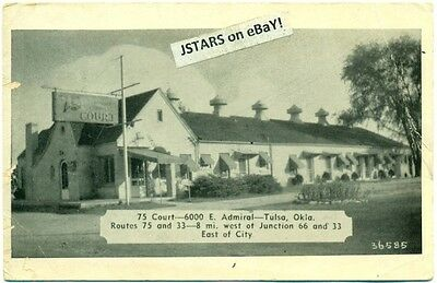 c. 1940 TULSA, OK, 75 COURT ROADSIDE MOTEL POSTCARD