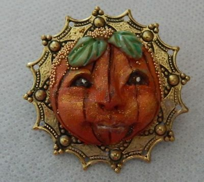 Fall Pumpkin Face Brooch or Scarf Pin Jewelry Handmade NEW Clay Halloween