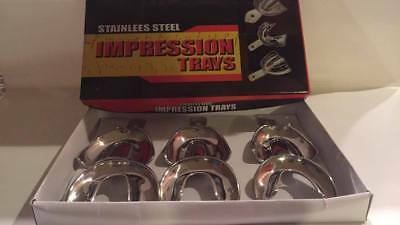 Dental Stainless Steel Non - Perforated Full Denture Impression Trays set of 6