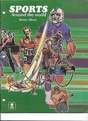 Sports Around the World Stamp Album, with postage stamps affixed