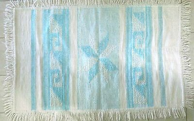 "Cotton Yarn Woven Rug, Southwest Theme, Turquoise and White, 39 ½"" x 60"""