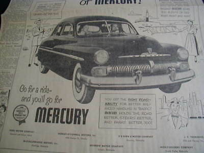 vintage 1950 newspaper ad mercury car advertisment clipping
