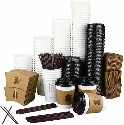 100 Pack 12 Oz Disposable Hot Paper Coffee Cups Lids Sleeves Stirrers 400 Pieces
