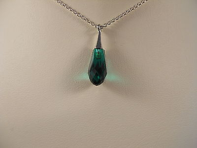 Sterling Silver,Faceted Emerald Swarovski Element Pure Drop Pendant Necklace
