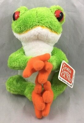 Tree Frog Telus Gund Plush Magnetic Hands Feet Green White Toad Toy New 46553 8""