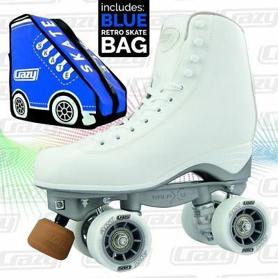 Celebrity ART Classic Hi White Quad Roller Skates with BLUE Retro Skate Bag !!!