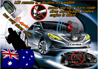 Shock sensitive 2 way Car Alarm with pager, 3km Range pager(Supplied and fitted)