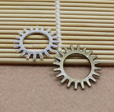 15-60pcs 25mm new Antique silver/bronze Lovely Filigree Gear Charms Pendant