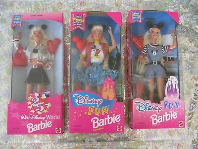 Mattel Disney Fun Barbie Dolls Lot of 3-1995-96-NRFB