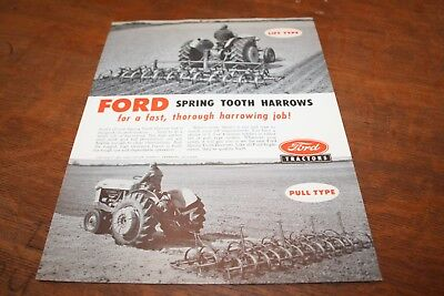 Ford Spring Tooth Harrows Lift & Pull Type Models 2,3,4 Section Brochure 1956