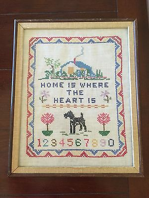 Vintage Home Is Where The Heart Is Cross Stitch Sampler