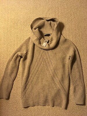 New! Ann Taylor Womens Cowl Drape Beige Cable Knit Sweater Large Petite