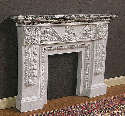 FIREPLACE ~ HAND  PAINTED  MARBLE ~Jim Coates ~ Dollhouse~ 1:12 scale ~ Room Box
