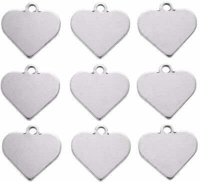 20pcs 304 Stainless Steel Heart Tag Charms Stamping Blanks Pendants 15.5x16x1mm