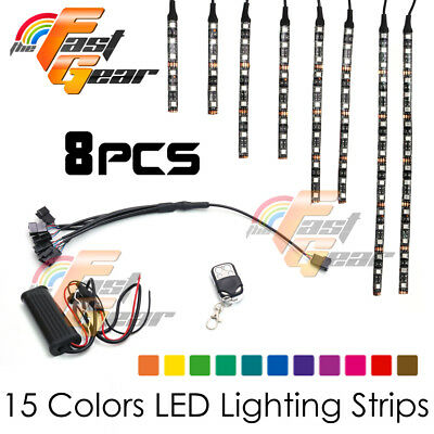 Motorclcyes LED Lighting LED Light Strip RGB x8 Fit Car Truck Lorry Boat
