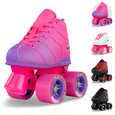 Crazy ROCKET White  Kids Quad Roller Skates - BEST Children's Roller Skates WOW!