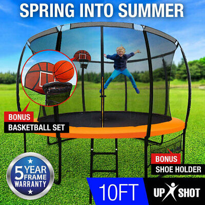NEW 14ft Round Trampoline FREE Basketball Safety Net Spring Pad Ladder KickDeck