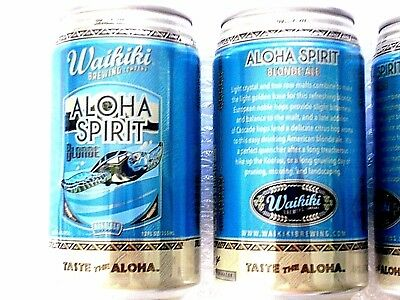 NEW ~ EMPTY WAIKIKI BREWING ALOHA SPIRIT BLONDE ALE Craft Beer 12oz Can Hawaii