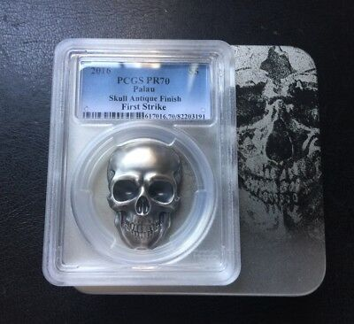 PCGS70 2016 Palau 1oz High Relief Antiqued Silver Skull Shaped Coin First Strike
