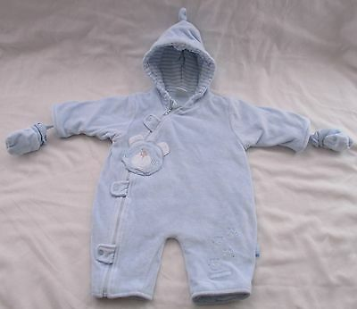 Gorgeous Zip Zap Blue All In One Warm Coat + Mittens Age 0-3 Months Free Post