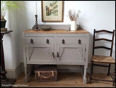 Pretty  Antique Painted Vintage Sideboard Farrow & Ball