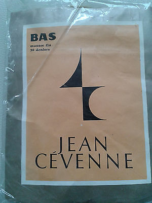 Bas stockings vintage nylon fin marron taille 2 FR40/42 UK9 USA D38/40