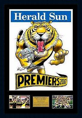 2017 Richmond Tigers Premiers Official Mark Knight Print Framed with Photos