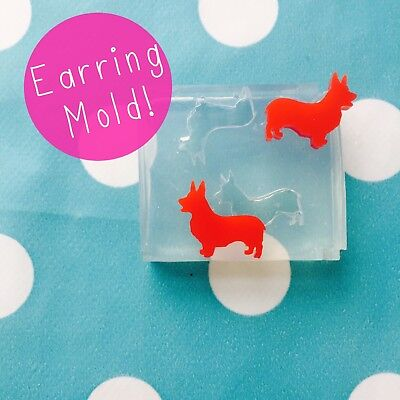 SILICONE EARRING MOLD - Corgi Queens Dog Breed Pet Mould Earrings Resin