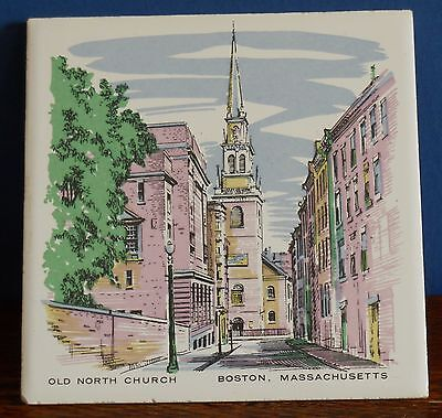 A Vintage  hand decorated tile Old North Church Boston by Screencraft Mas.