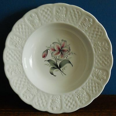 Vintage / Antique  soup bowl raised majolica style  border with lily