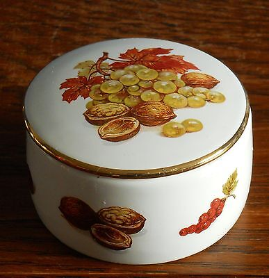 A small porcelain autumn fruits & nuts trinket box by Braunton Pottery
